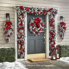 christmas lights The Cordless Prelit Red And White Holiday Trim - Hammacher Schlemmer Noel Christmas, Outdoor Christmas Decorations, Rustic Christmas, Christmas Crafts, Christmas Porch Ideas, Christmas Lights Outside, Christmas Decorating Ideas, Beautiful Christmas Decorations, How To Decorate For Christmas