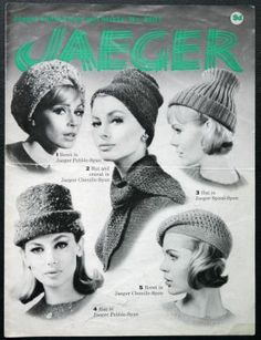 Jaeger Knitted Hats Berets Knitting Pattern 3907 1960s