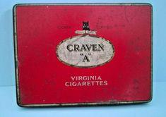 "Vintage CRAVEN ""A"" VIRGINIA CIGARETTES Tin - Tobacciana - Smoking   Ref: 598 Tunbridge Wells, Tin Boxes, Metal Tins, Flask, Smoking, Virginia, Vintage, Ebay, Tin Cans"