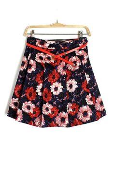 Retro Large Flower Print Skirt [FMCC0131]- US$29.99 - PersunMall.com
