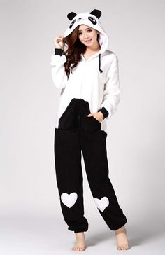 fleece one piece jumpsuit, lovely onesies,sleepwear,panda onesie