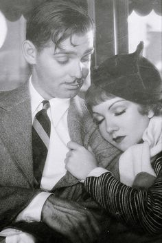"""Clark Gable and Claudette Colbert in """"It Happened One Night"""", 1934."""