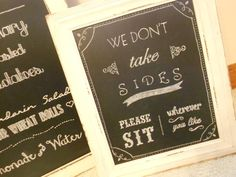 homemade wedding chalkboards