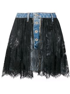 Blue/black cotton lace overlay denim skirt from UNRAVEL PROJECT featuring lace overlay, button fly fastening and belt loops. Estilo Jeans, Fall Fashion 2016, Denim Crafts, Cotton Lace, Black Cotton, Denim And Lace, Denim Fashion, Dress Patterns, Ideias Fashion