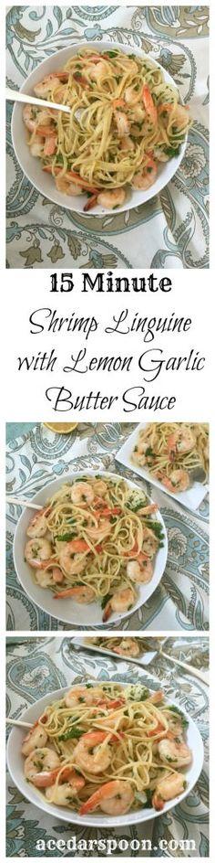 15 Minute Shrimp Linguine with Lemon Garlic Butter Sauce