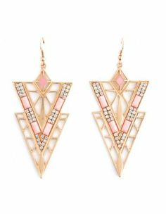 deco triangle dangle earrings