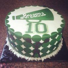 Green Polka Dot Cheerleader cake