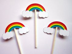Rainbow Cupcake Toppers, Rainbow Baby Shower, Rainbow Birthday, Cupcake Toppers - Decoration For Home Rainbow Parties, Rainbow Birthday Party, Rainbow Theme, Rainbow Baby, Baby Birthday, Cupcake Party, Birthday Cupcakes, Toddler Crafts, Crafts For Kids