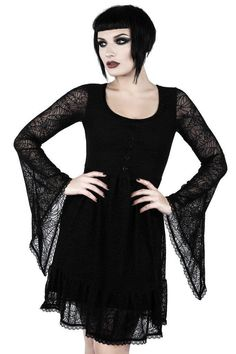 Women's Clothing Generous Gothic Black Hollow Out Lace Dress For Women Punk Sexy Long Sleeve Short Dresses Casual Slim-fitting Dress