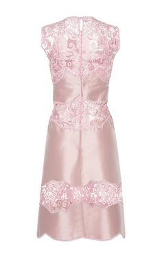 Embroidered Lace And Duchesse Satin Shift Dress by COSTARELLOS for Preorder on Moda Operandi
