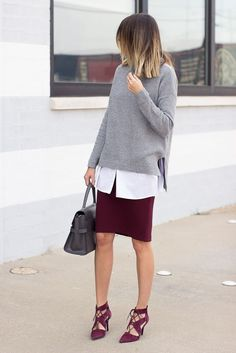 a burgundy skirt and matching strappy shoes, a white shirt, a grey chunky sweater and a grey bag Burgundy Skirt Outfit, Burgundy Heels, White Burgundy, Work Fashion, Fashion Outfits, Skirt Fashion, Fashion Fashion, Workwear Fashion, Fashion Blogs