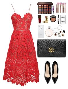 """a red carpet look"" by marijasumaan on Polyvore featuring self-portrait, Gucci, Chanel, Jewelonfire, Other, Andrea Fohrman, Tom Ford, Guerlain, Violet Voss and Urban Decay"