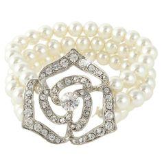 Ever Faith - Bracelet Femmes Cadeau Fleur Fausse Perle Ivorie Cristal Autrichien Plaqué Argent N03800-1