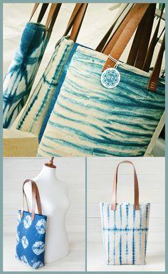 Beautiful Shibori Tote Bags in four unique patterns