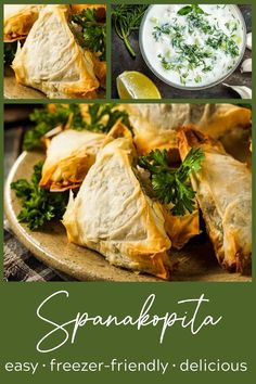 Spanakopita triangles are simpler to make than you think! So much flavor from the spinach filling that's perfect with the crispy phyllo dough. And the can be frozen so you can pop just a few in the oven anytime! These little bites are the perfect hand-held greek spinach pies, perfect for dinner or a party. #spanakopita #spanikopita #thewickednoodle #greekappetizers Greek Spinach Pie, Frozen Spinach, Greek Appetizers, Mediterranean Chickpea Salad, Good Food, Yummy Food, Phyllo Dough, Dinner Options, Greek Salad