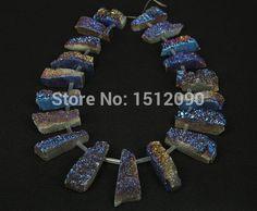 Aliexpress.com: Acheter 19 pcs bleu titane Druzy Agate Geode trapèze perles pendentifs, Drussy Drusy Agate pierre fines perles bijoux 10 18x30 45mm de perles blanches fiable fournisseurs sur Guangzhou Welcomebeads Co.,Ltd