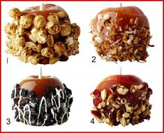 20 Caramel Apple Toppings and tips for setting up a caramel apple bar One of my favorite things about Fall is caramel apples. I'm sharing ideas for a caramel apple bar and 20 different options for toppings. Caramel Apple Bars, Caramel Candy, Caramel Apples, Chocolate Apples, Fall Treats, Holiday Treats, Halloween Treats, Gourmet Candy Apples, Apple Dip