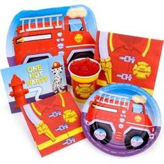 $49.95 + postage Fire Engine Party Package contains: Pkt of 16 Napkins Pkt of 8 Hot/Cold Cups Pkt of 8 Plates Pkt of 8 Invitations with matching envelopes Pkt of 8 Blowouts