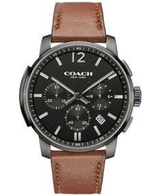 COACH MEN'S BLEECKER CHRONO BROWN LEATHER STRAP WATCH 42MM 14602017, MACY'S EXCLUSIVE | macys.com