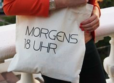 "Jutebeutel ""Morgens 18 Uhr"" // tote bag by Jutebeutel-love via DaWanda"
