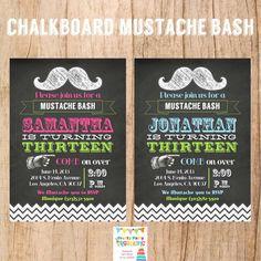 CHALKBOARD MUSTACHE invitation  YOU Print by PrettyPartyCreations, $11.50