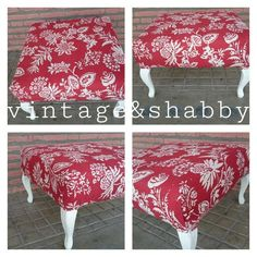 Mesa o puff retapizado con tela de Carole Nevin.  La base es de un sillon orejero...  Upcycled bottom part of wing chair to become a coffee table or bench reupholstered with Carole Nevin Designs fabric.