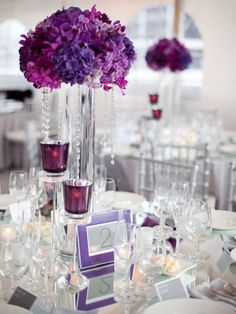 Ivory white background/linens. Option of purple flowers