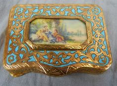 Antique Compact~Gold (plate) Filigree with Blue Enamel~Hand Painted Scene