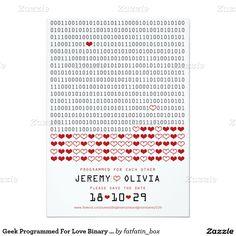 Geek programmé pour des économies de code binaire carton d'invitation  11,43 cm x 15,87 cm