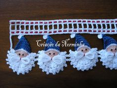 """Papa Noel Azúl"" edging with step by step picture instructions. In time for the holidays!!!!!"