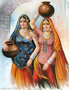 Indian paintings have a very long tradition and history in Indian art. There are more than 20 types of painting styles available in india. Art Painting Gallery, Painting Of Girl, Fashion Painting, Painting Pictures, Potrait Painting, Rajasthani Painting, Rajasthani Art, Indian Women Painting, Indian Art Paintings