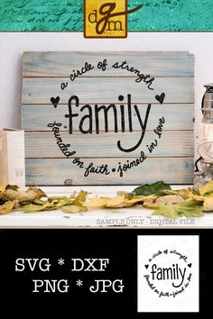 Make the perfect Rustic Wall Decor with this circular, Family Quote SVG Cut File! Click through to see a minimalist version, too! Rustic Wall Decor, Rustic Walls, Pallet Signs, Pallet Art, Family Signs, Family Quotes, Beach Signs, Cricut Creations, Cricut Vinyl