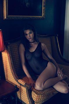 Anais wears a semi-sheer bodysuit from For Love & Lemons