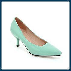 Frauen Niedrige Ferse Spitze Zehe Süßigkeit Farbe der Pumps Schuhe (40, Grün) - Damen pumps (*Partner-Link)