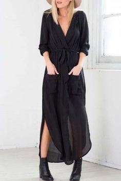 Stylish Turn-Down Collar Long Sleeve Pocket Design High Slit Women's DressLong Sleeve Dresses | RoseGal.com