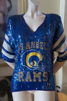 Very Vintage 80s Los Angeles RAMS Football Sequined UNIQUE RARE Jersey  dress TOP Football Outfits 0abd7a79b