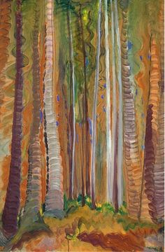 ☼ Painterly Landscape Escape ☼ landscape painting by Emily Carr, Forest (Tree Trunks), c. Emily Carr, Canadian Painters, Canadian Artists, Art Inuit, Group Of Seven Paintings, Vancouver Art Gallery, Art Chinois, Tree Trunks, Impressionist Paintings