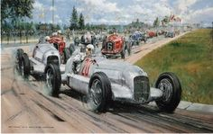 """Birth of the Silver Arrows"" by Nicholas Watts    Image Size 26"" x 17""(66cm x 45cm)  Overall Size 33 ""x 25"" (84cm x 63cm) LE 500. Manfred von Brauchitsch leads Luigi Fagioli, both in Mercedes W25A's at the start of the 1934 Eifelrennen. Initially the cars had been painted white, but exceeded the new 750Kg weight limit. The decision was left to Alfred Neubauer who ordered the mechanics to strip the paint from both cars. Hence the 'Sil"