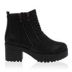 Zada Black Block Heel Boots