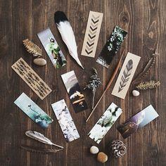 Marcadores de conjuntos (3) total 12 - serie de la foto - ilustración de pluma Kraft. Botánico. Regalo de los amantes de libro. Embutidoras ...