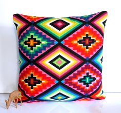 Mexican cushion neon aztec pillow ethnic bright cushions geometric colourful - by HenriettaAndMorty on madeit