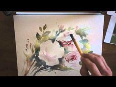 "Démo aquarelle ""Les roses"" (watercolor tutorial) - YouTube"