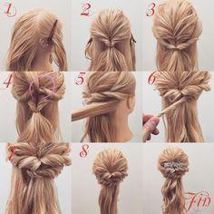 """433 Likes, 3 Comments - (香川県/美容師)西川 ヒロキ《ヘアアレンジ・透けカラー》 (@hiroki.hair) on Instagram: """"くるりんぱハーフアップアレンジ✨ 1,横と後ろを分けます 2,後ろを耳の高さぐらいで結びくるりんぱを作ります 3,横の髪をねじりながら後ろで結びます…"""""""