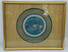 Framed Japanese Chinese Silk Tapestry Hand Embroidered Wall Hanging Bird Floral