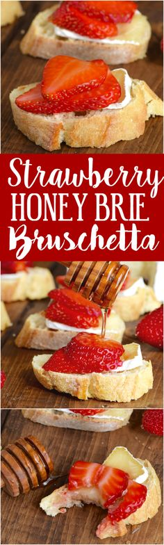 These Honey, Strawberry & Brie Bruschetta are made with just four ingredients in about 10 minutes! So easy and perfect for parties!(Four Ingredients Dinner) Yummy Appetizers, Appetizers For Party, Appetizer Recipes, Dessert Recipes, Gelato, Tapas, Vegetarian Recipes, Cooking Recipes, Brie