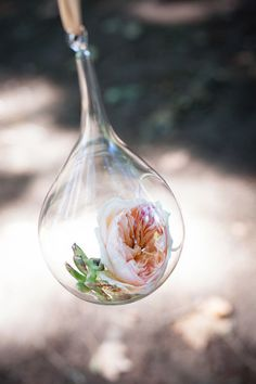 Flowers in glass bulbs instead of candles! Heavenly Hanging Decor Wedding Reception Photos on WeddingWire