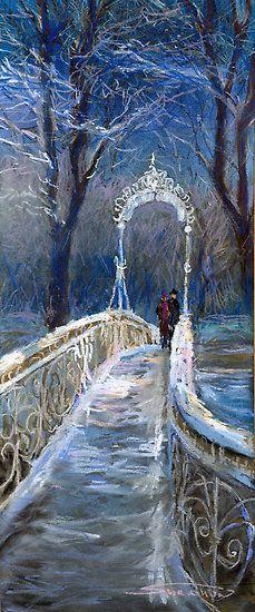 """Germany Baden-Baden Winter Bridge"" by Yuriy Shevchuk"