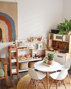 - A mix of mid-century modern, bohemian, and industrial interior style. Home and apartment decor, de Playroom Design, Kids Room Design, Playroom Ideas, Design Bedroom, Home Design, Ikea Kids Playroom, Toddler Playroom, Basement Ideas, Wall Design