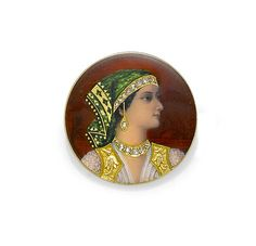An enamel, diamond and 18k gold painted portrait brooch/pendant