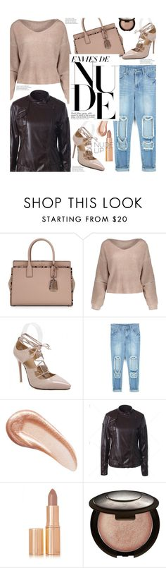 """Street Style: The Perfect Nude"" by beebeely-look ❤ liked on Polyvore featuring Kate Spade, Charlotte Tilbury, Becca, nude, nudelip, streetwear, distresseddenim and twinkledeals"